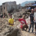 rajendra-nhisutu-at-earthquake-disaster-areas-with-local-team